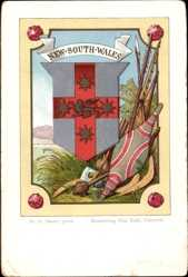 Wappen Litho New South Wales Australien, Bumerang, Speere, Schild