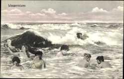 Ak Wassernixen, nackte Frauen im Meer, Wellen
