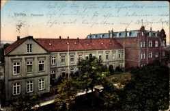 Postcard Vechta in Niedersachsen, Blick auf das Pensionat, Fassade, Straße