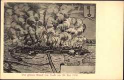 Künstler Ak Stade in Niedersachsen, Der große Brand am 26. Mai 1659