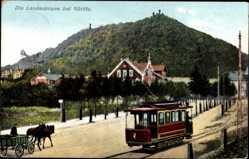 Postcard Görlitz in der Lausitz, Straßenbahn 7., Kutsche, Landeskrone