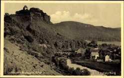 Postcard Nideggen in der Eifel ,Blick auf die Burg, Fluss, Brücke, Häuser