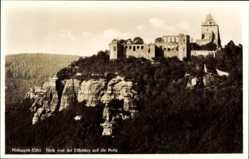Postcard Nideggen in der Eifel, Blick von der Effeley auf die Burg, Ruine, Felsen