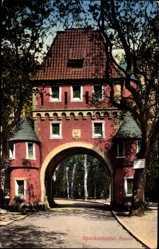 Postcard Speckenbüttel Bremerhaven, Blick durch das Parktor, Bäume, Weg