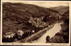 Postcard Heimbach Kr. Düren Eifel, Blick vom Meuchelberg auf die Stadt, Fluss