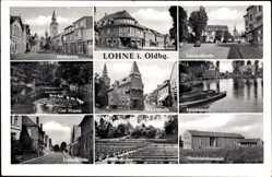 Postcard Lohne im Oldenburger Münsterland, Markt, Bahnhofstraße, Gut Hopen,Lehranstalt