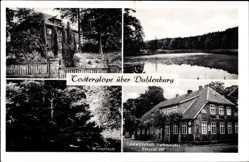 Postcard Tosterglope Niedersachsen, Winterteich, Gastwirtschaft Hachmeister, Badeteich