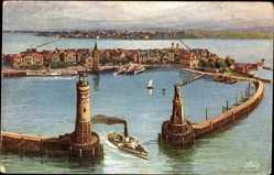 Künstler Ak Lindau im Bodensee Schwaben, Hafeneinfahrt, Signalturm