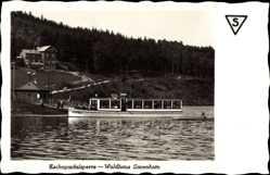 Postcard Kriebstein Mittelsachsen, Zschopautalsperre Waldhaus Lauenhain, Fähre