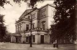 Postcard Hansestadt Bremen, Straßenpartie mit Blick auf Stadttheater