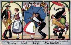 Künstler Ak Boettcher, Hans, Des is der Schwob, tanzendes Paar, Regenschirm