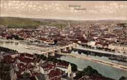 Postcard Würzburg am Main Unterfranken, Totalansicht der Stadt mit Flusspartie