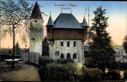 Postcard Kempten im Allgäu Schwaben, Die Burghalde, Sitzgelegenheit