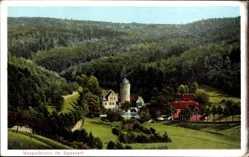 Postcard Mespelbrunn im Spessart, Wasserschloss, Häuser, Waldlandschaft