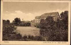 Postcard Gießen an der Lahn Hessen, Lahn Wehr an der Badeanstalt