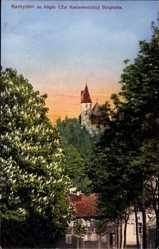 Postcard Kempten im Allgäu Schwaben, Die Burghalde zur Kastanienblüte