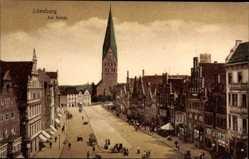 Postcard Lüneburg in Niedersachsen, Am Sande, Kirche, Geschäfte