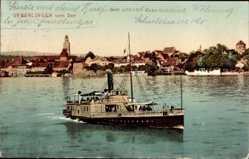 Postcard Überlingen im Bodenseekreis, Salondampfer, Blick auf den Ort