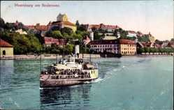 Postcard Meersburg im Bodenseekreis Baden Württemberg, Salondampfer, Ort