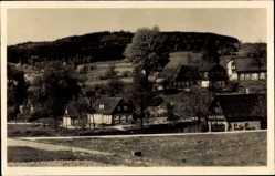 Postcard Oppach in Sachsen, Blick auf den Ort, Felder, Berg, Wald, Häuser