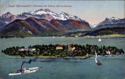 Postcard Insel Herrenwörth Chiemsee, Schloss Herrenschiemsee, Segelboote, Gebirge