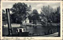 Postcard Fürstenwalde an der Spree, Dampfschiff Carola, Kirchturm, Flusspartie