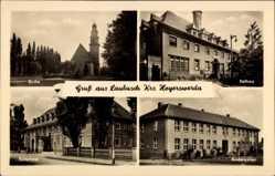 Postcard Laubusch Lauta im Kreis Bautzen, Kirche, Rathaus, Kulturhaus, Kindergarten