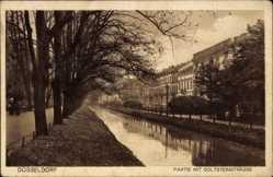 Postcard Düsseldorf am Rhein, Kanalpartie mit Goltsteinstraße