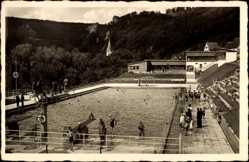 Postcard Blaubeuren Baden Württemberg, Blick in das Freischwimmbad