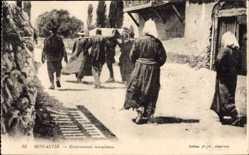 Postcard Monastir Bitola Mazedonien, Enterrement musulman, Muslimisches Begräbnis