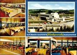 Postcard Rudolphstein Berg Oberfranken, Autobahn Raststätte Frankenwald, W. Friedrich
