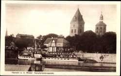 Postcard Hameln in Niedersachsen, Dampferlandungsplatz, Wehr