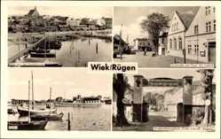 Postcard Wiek auf der Insel Rügen, Hafen, Dorfstraße, Haus der Jugend, Kreidebrücke