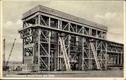 Postcard Niederfinow Brandenburg, Ansicht vom Schiffshebewerk im Bau