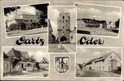 Wappen Ak Gartz an der Oder, Stettiner Tor, Friedensschule, HOG Stadtcafe