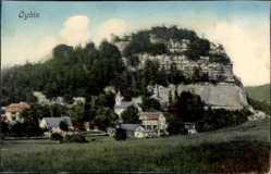 Postcard Oybin in Sachsen, Teilansicht mit Blick auf Berg