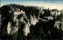 Postcard Oybin in Sachsen, Ansicht der Oertelwand, Klippen