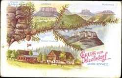 Postcard Nikolsdorf Königstein an der Elbe Sächsische Schweiz, Pfaffenstein, Labyrinth