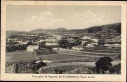 Postcard Flamengos Fayal Azoren Portugal, Vista geral da freguesia, Felder