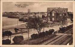 Postcard Cascaes Cascais Portugal, Vista Marginal, Teilansicht der Ortschaft, Gleise