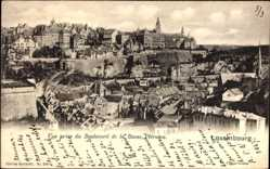 Postcard Luxemburg, Vue prise du Boulevard de la Basse Petrusse, Blick auf den Ort