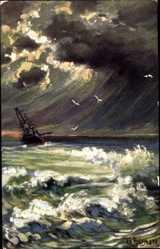 Künstler Ak Fuhrmann, G., Segelschiff im Sturm, Gewitterwolken