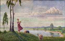 Künstler Ak Olszewski, Karl Ewald, Sonniger Tag, Frau mit Schafen am Wasser