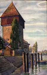 Künstler Ak Marschall, V., Konstanz am Bodensee, Rheintorturm und Pulverturm