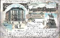 Litho Frankfurt am Main, Hotel zur Post, Hauptbahnhof, E. Ehrenfried