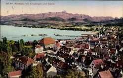 Postcard Konstanz am Bodensee, Blick auf die Stadt mit Kreuzlingen und Säntis