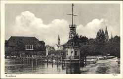 Postcard Konstanz am Bodensee, Blick auf den Signalturm im Hafen