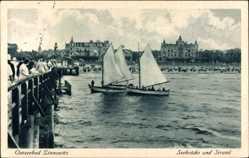 Postcard Zinnowitz auf der Insel Usedom, Ostseebad, Segelboote in Strandnähe