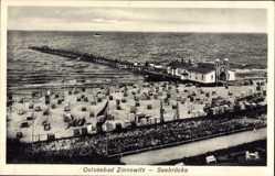 Postcard Zinnowitz auf der Insel Usedom, Ostseebad, Strand mit Seebrücke