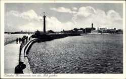 Postcard Rostock Warnemünde, Ostseebad, Blick von der Mole auf die Stadt